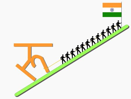 rupee: Workers pulling giant Rupee sign with Indian flag Stock Photo