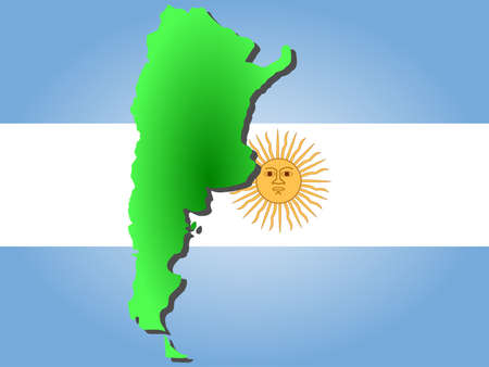 argentinian flag: map of Argentina and Argentinian flag illustration Stock Photo