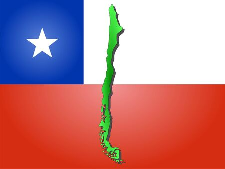 realm: map of Chile and Chilean flag illustration