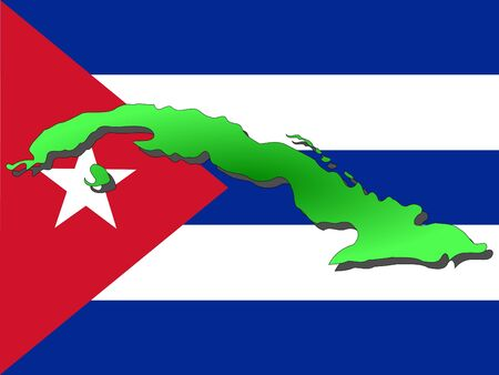 the cuban: map of Cuba and Cuban flag illustration