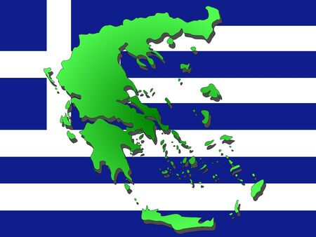 realm: map of Greece and Greek flag illustration Stock Photo