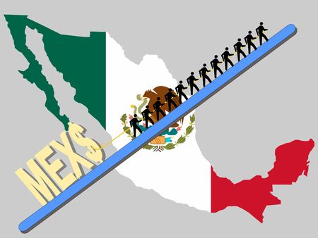 Workers pulling giant Peso sign with Mexican map and flag Stock Photo - 894945