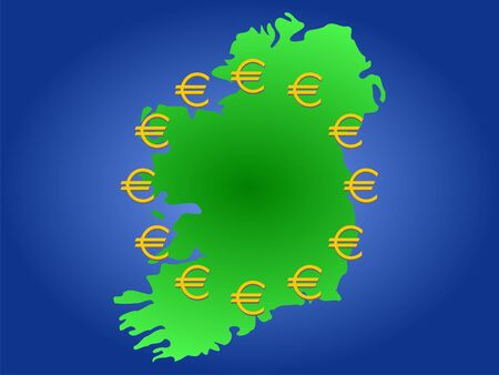 map of Ireland and twelve golden euro symbols Stock Photo - 894954