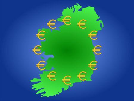 map of Ireland and twelve golden euro symbols Stock Photo - 894954
