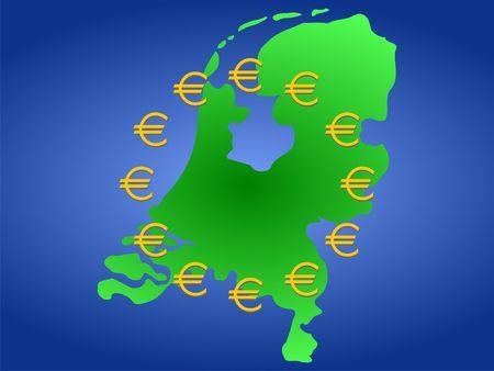 map of Netherlands and twelve golden euro symbols  photo
