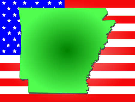 arkansas state map: Map of the State of Arkansas and American flag