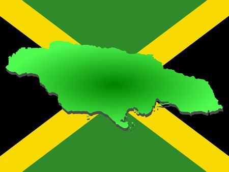 jamaican: map of Jamaica and Jamaican flag illustration