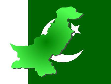 map of Pakistan and Pakistani flag illustration Reklamní fotografie - 894986