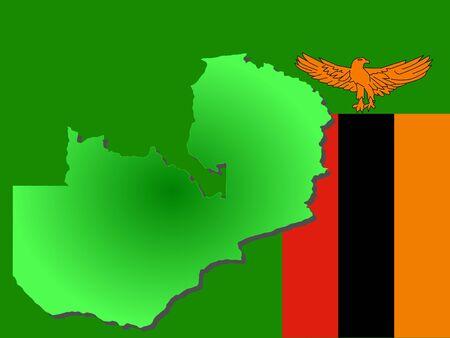 zambian flag: map of Zambia and Zambian flag illustration Stock Photo