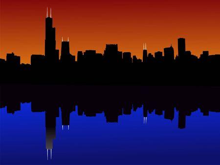 Chicago Skyline reflected at sunset illustration Stock Photo