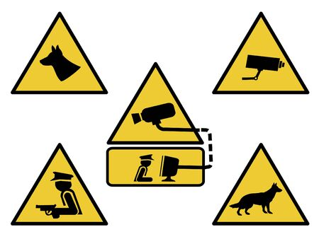 cctv camera: security signs, guard dogs, cctv camera, and armed guard illustration Stock Photo
