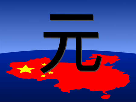 chinese map: giant Yuan sign with chinese map and flag from space Stock Photo