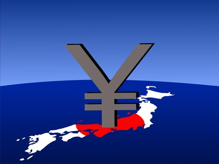 giant Yen sign with Japanese map and flag from space photo