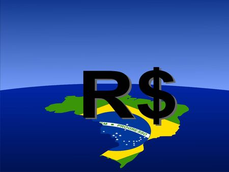 Brazilian Real sign with map and flag of Brazil from space photo