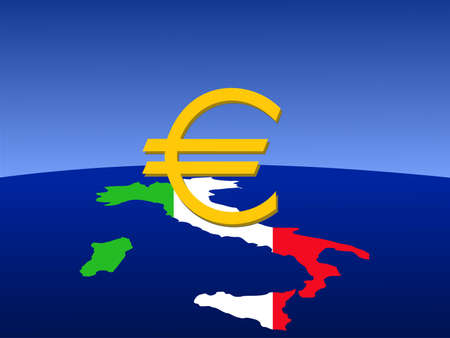 giant euro sign with map and flag of Italy from space photo