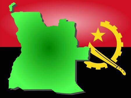 map of angola: map of Angola and Angolan flag illustration