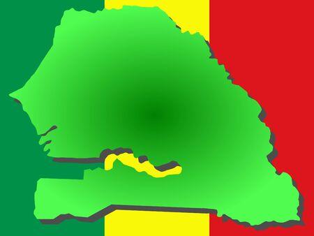 map of Senegal and Senegalese flag illustration Reklamní fotografie - 902225