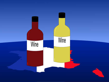 French wine with map and flag of France from space photo