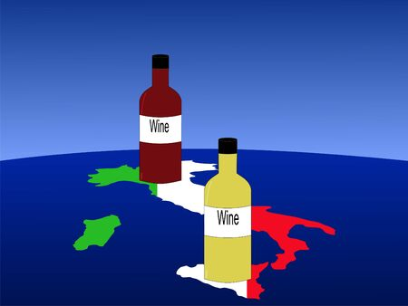 Italian wine with map and flag of Italy from space photo