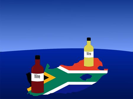 South African wine with map and flag of South Africa from space photo