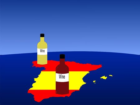 Spanish wine with map and flag of Spain from space photo