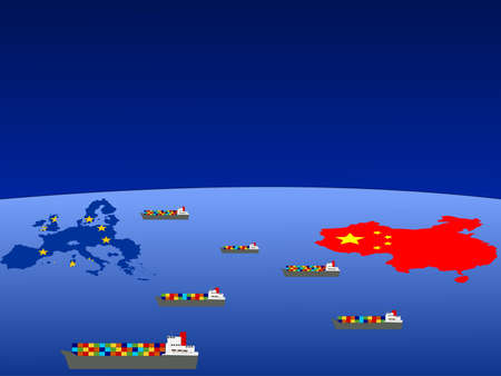 trade union: Trade between China and european union with container ships illustration Stock Photo