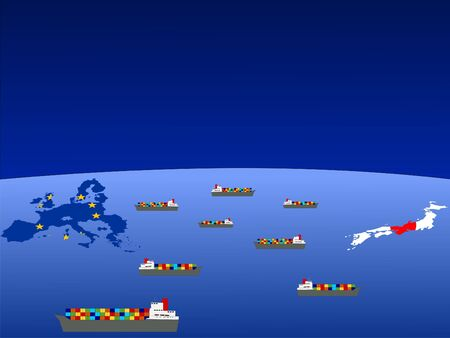 trade union: Trade between Japan and european union with container ships
