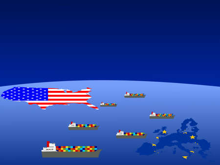 laden: Trade between USA and european union with container ships illustration