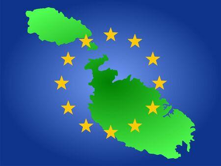 maltese map: map of malta and European union flag Stock Photo
