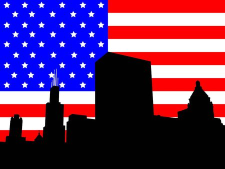 Chicago Skyline with Sears Tower with American flag