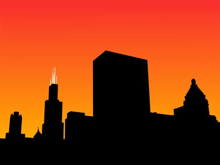 sears: Chicago Skyline with Sears Tower at sunset