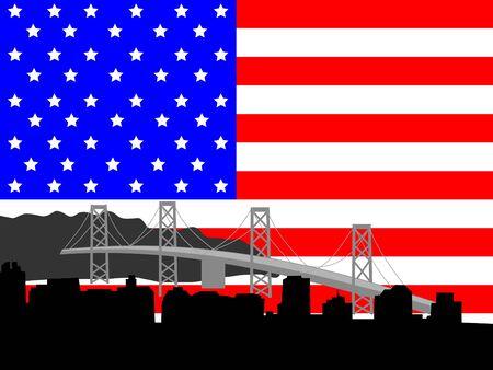 Oakland Bridge and San Francisco skyline with American flag photo