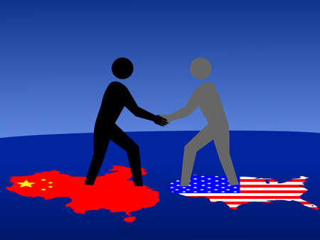 Chinese and American business men meeting with handshake Stock Photo - 910908