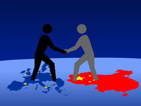 European and Chinese business men meeting with handshake Stock Photo - 910909