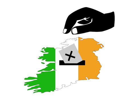 irish map: hand voting with ballot paper in Irish election