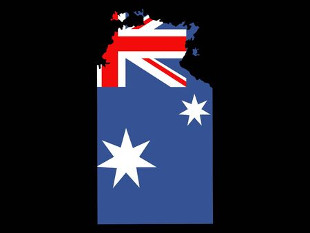 territories: map of Northern Territories and Australian flag Stock Photo