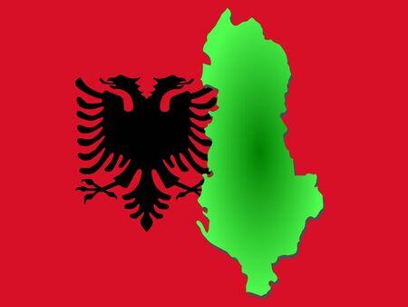 albanian: map of Albania and Albanian flag illustration Stock Photo