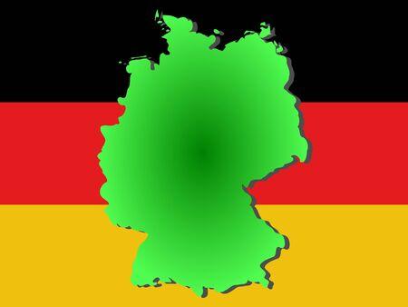 Republic of Germany map and flag illustration Reklamní fotografie - 914397