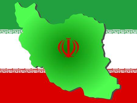 iranian: map of Iran and Iranian flag illustration