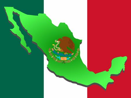 mexico city: map of Mexico and Mexican flag illustration
