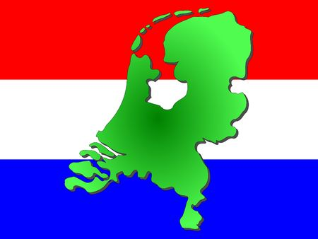 dutch flag: map of Netherlands and dutch flag illustration