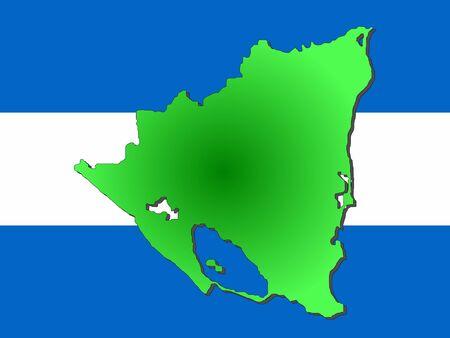 nicaraguan: map of Nicaragua and Nicaraguan flag illustration