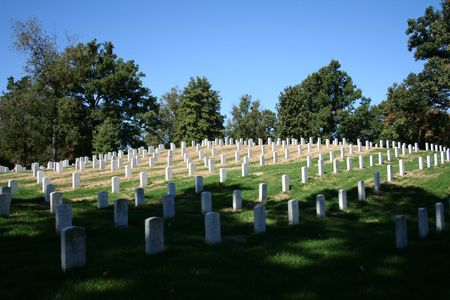 hallowed: numerous gravestones in Arlington cemetery Virginia USA
