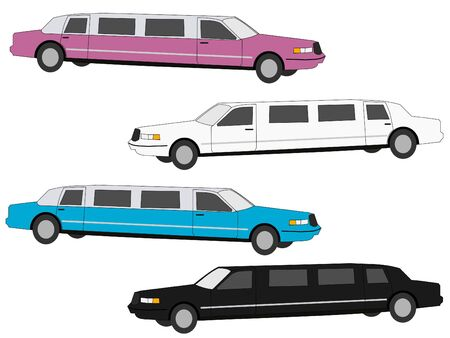 limo: colourful stretch limos white, black, blue and pink