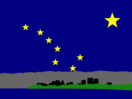 anchorage: Anchorage Alaska skyline against Alaskan Flag illustration