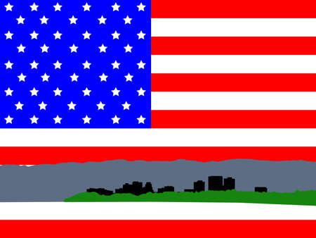 Anchorage Alaska skyline against American Flag illustration illustration