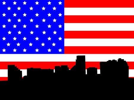 baltimore: Baltimore Maryland skyline against American Flag illustration