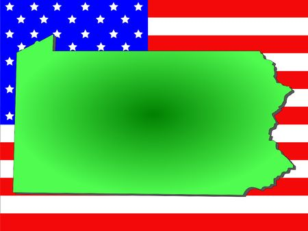 Map of the State of Pennsylvania and American flag
