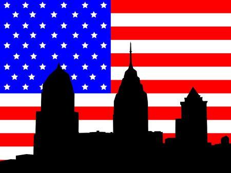 philadelphia: Philadelphia Pennsylvania skyline against American Flag illustration