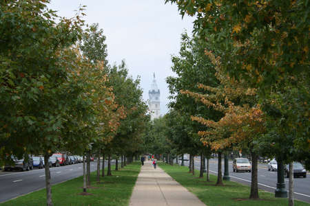 Philadelphia city hall and trees of Benjamin Franklin Parkway photo